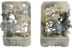 Pair of vintage marble rooster bookends with leaf details. These are beautiful and very delicately carved, so there are a few expected chips. (My year.)