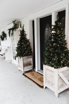 DIY Farmhouse Porch Planter Boxes BoxesChristmas Tree BoxesDecorating For Christmas OutdoorsOutdoor