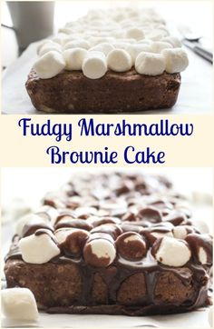 Fudgy Marshmallow Brownie Cake, a delicious brownie, topped with marshmallows and a creamy smooth fudge sauce. The perfect decadent dessert. via /https/://it.pinterest.com/Italianinkitchn/