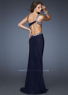 Gigi 18783 Navy Blue One Shoulder Open Back Prom Dress