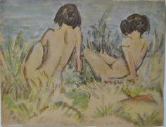 OTTO MÜLLER Badende Mädchen 1925 Signiert i. Dr. Erotik Akt Expressionismus