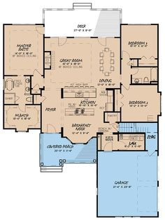 This house plan is awesome! It has the walk in pantry and the open room I love for Living Room, kitchen and dining area. This house plan is awesome! It has the walk in pantry and the open room I love for Living Room, kitchen and dining area. Southern House Plans, Country Style House Plans, New House Plans, Dream House Plans, Southern Homes, House Floor Plans, Dream Houses, Southern Style, Open Floor Plans