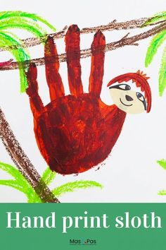 Handprint paintings are so much fun to do. We just love these super cute handprint sloths, hanging around on their jungle branches. It's an adorable handprint animal craft for kids. Time: 10 minutes Age: Toddlers to Big kids Difficulty: Easy peasy Jungle Crafts, Ocean Animal Crafts, Jungle Art, Animal Crafts For Kids, Fun Crafts For Kids, Baby Crafts, Jungle Theme, Creative Crafts, Easy Toddler Crafts