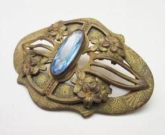 Art Nouveau Brooch BlueGlass Brass flower bar pin 3 inch by serendipitytreasure on Etsy