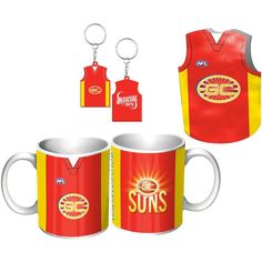 Gold Coast Suns Guernsey Giftpack  This Great Pack Features Guernsey Design Mug, Keyring, & Stubby Cooler.  To see the full range of AFL merch, visit www.shop.afl.com.au