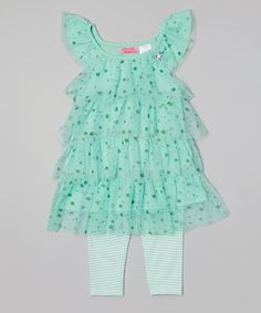 Take a look at the Mint Glitter Tiered Tunic & Leggings - Infant & Toddler on #zulily today!
