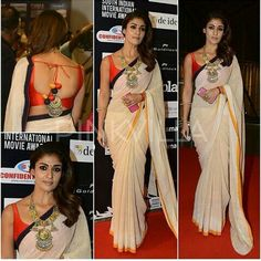 Day 2 of SIIMA Awards in Singapore saw actress Nayanthara looking stunning in a traditional saree look. She wore a custom made khadi saree in beige t. Simple Sarees, Trendy Sarees, Indian Attire, Indian Wear, Indian Dresses, Indian Outfits, Indian Clothes, Sari Blouse Designs, Blouse Patterns