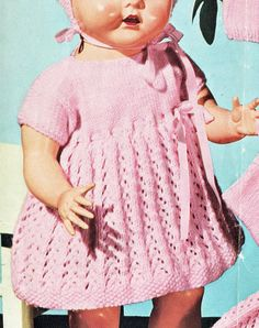 PDF Vintage Doll Clothes & Premature Baby Knitting Pattern Emu 8014 PINK Dress Matinee Pram Set Underwear Vest Pilch Bootees Yoke Instant Download! To Knit a Pretty-in-Pink Layette for your Dolly or Baby in a pretty Arrowhead Lace Pattern Trimmed with matching Pink Silk Ribbon Pussy Bows Dress Angel Top fashion Lacy Full Skirt Empire Waist Stocking Stitch Yoke Sideways Sleeves Round Neckline Eyelets & Ribbon Trimmed Waist Moss Stitch Edgings a matching Matinee Coat, Bootees also ...