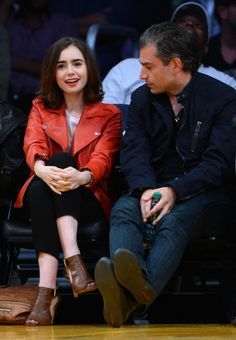 Visit the post for more. Lakers Game, Lily Collins, Pop Fashion, Celebrity Pictures, Candid, Hollywood, Leather Jacket, Actresses, Games