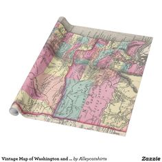 Vintage Map of Washington and Oregon (1872) Wrapping Paper