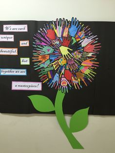 Looking for bulletin board or classroom decoration ideas? Check out this colorful, unique one! School Displays, Classroom Displays, Classroom Decor, School Projects, Art Projects, School Wide Themes, Harmony Day, Art For Kids, Crafts For Kids