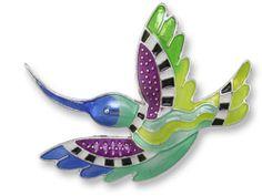 Zarah Hummingbird Radiance PIN Silver Plated Zarlite Enamel Brooch - Free Ship
