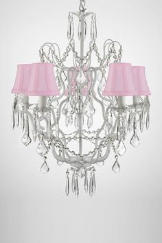 Versailles Wrought Iron Crystal Pink Shade Chandelier