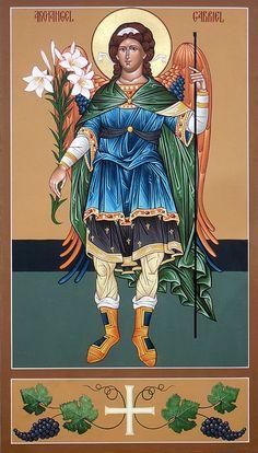 Archangel Gabriel by Matthew Garrett Religious Images, Religious Icons, Religious Art, Saint Gabriel, Arhanghelul Gabriel, Angelic Symbols, Greek Icons, Archangel Raphael, Byzantine Icons