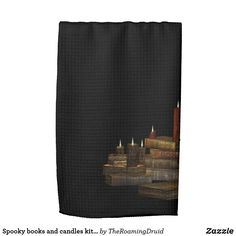 Spooky books and candles kitchen towel - black