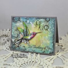 Hummingbirds, n*Studio line Grunge and Dress Form: all Stampendous, directions on blog - mono printing, Rain Puddles Design: