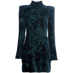 BALMAIN devor? dress (15.785 RON) ❤ liked on Polyvore featuring dresses, balmain, long sleeve zipper dress, blue dress, zipper dress, long sleeve print dress and high neckline dress