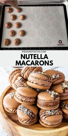 Fun Baking Recipes, Sweet Recipes, Cookie Recipes, Dessert Recipes, Nutella Recipes, Baking Desserts, Nutella Macarons, Macaron Cookies, Nutella Mousse