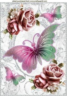 PINK BUTTERFLIES, PINK ROSES IN SPARKLE FRAME A4, Makes a pretty card, Also can be seen in A5