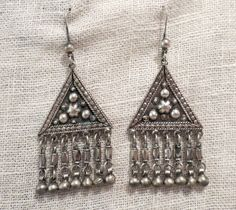Exotic 800 Silver Triangle Chandelier Earrings by cloud9eclectic
