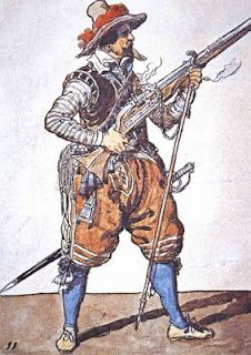 Spanish musketeer carries a 18lb, 70 to 90 caliber matchlock.