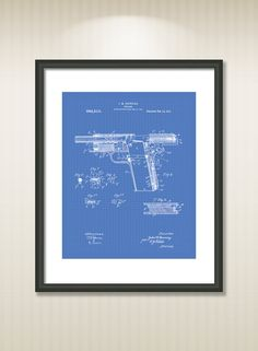 This reproduction was digitally restored and in some cases altered to remove defects or unwanted artifacts present in the original #patent document.  Buy more and save! Buy ... #patentart #art #print #gift #digital #download #instant #printable #vintage #gun #military