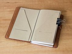 Kraft paper folder for Traveler's Notebook Regular size Folder insert Card holder Midori accessories Midori insert Christmas gifts by CadenetaNotebooks