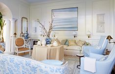Blue and ivory living room Coastal Living Rooms, Formal Living Rooms, Living Spaces, Coastal Homes, American Interior, Pacific Palisades, Building A New Home, White Rooms, Living Room Inspiration