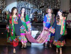 #green #blue #black #afghan #national #dresses