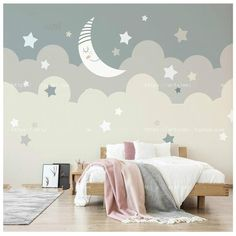 Hand Painted Lovely Cartoon Moon Clouds Nursery Wallpaper Wall Mural, Cream and Pale Grey Moon and C cartoon Hand Painted Lovely Cartoon Moon Clouds Nursery Wallpaper Wall Mural, Cream and Pale Grey Moon and Cloud Pattern Kids Children Wall Mural Kids Room Murals, Wall Murals, Cartoon Wall, Cartoon Clouds, Clouds Nursery, Clouds Pattern, Hand Painted Walls, Cleaning Walls, Nursery Wallpaper