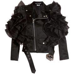 Junya Watanabe Women's Satin Ester Jacket (19 055 ZAR) ❤ liked on Polyvore featuring outerwear, jackets, coats, tops, junya watanabe, black satin jacket, black biker jacket, pocket jacket and asymmetrical zipper jacket