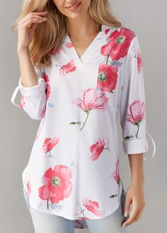 Roll Tab Sleeve Printed V Neck White Blouse | Rosewe.com - USD $27.75