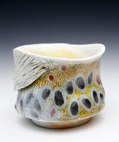 Wood Fired Ceramics Cone 13 Brown Trout Yunomi  ( Nature as Objects) Gyotaku Clay Mug Fish Mug Porcelain Japan