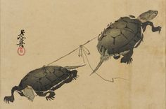 Two Turtles Shibata Zeshin , (Japanese, 1807-1891) Woodblock print; ink and…