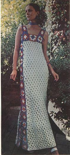 Vintage Crochet Long Dress PDF by RetroMadeDesigns on Etsy.