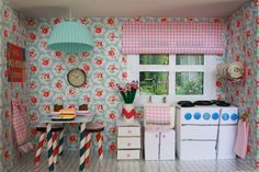Tales from a happy house.: A Shoebox Kitchen for a Little Mouse. Cath Kidston Competition where shoe box had to be furnished from things found round the house. Click through for Ideas. Fun to do with your children. Note the button plate rack! Little DIY PROJECT.