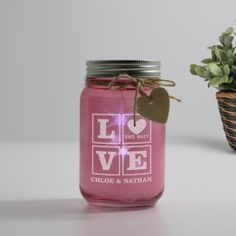 Personalised Pink Glass Jar With Led Lights - Love