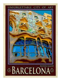 vintage poster Gaudi, Barcelona