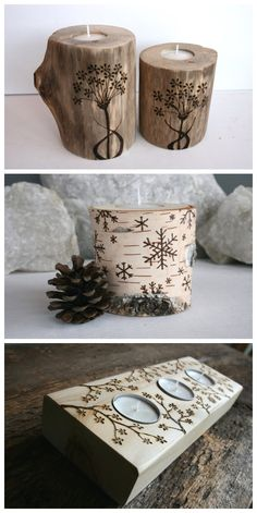 """pirogravar // I made a couple of simple maple wood candle (2"""")  holders this weekend. These would be harder."""