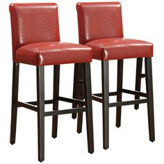 Homebelle Haven Set Of 2 Red Faux Leather Bar Stools