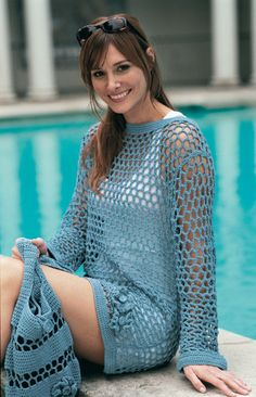 Crocheted Mesh Tunic And Bag - Purchased Crochet Pattern - (patternfish)