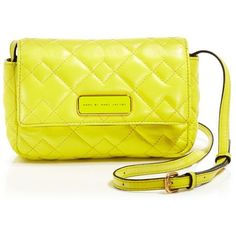 Marc By Marc Jacobs Crossbody - Crosby Quilted Julie ($149) ❤ liked on Polyvore featuring bags, handbags, shoulder bags, zest, quilted shoulder bag, yellow cross body purse, quilted crossbody, quilted handbags and yellow purse
