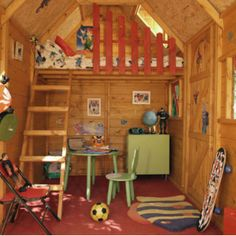 outdoor playhouse plans with loft Playhouse Decor, Kids Playhouse Plans, Playhouse Interior, Backyard Playhouse, Build A Playhouse, Playhouse Furniture, Childrens Outdoor Playhouse, Outdoor Playhouses, Girls Playhouse