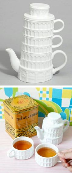 "Leaning Tower of Pisa teapot & mug set // ahem... Leaning Tower of ""Tea-sa""... o.O #product_design #tea"