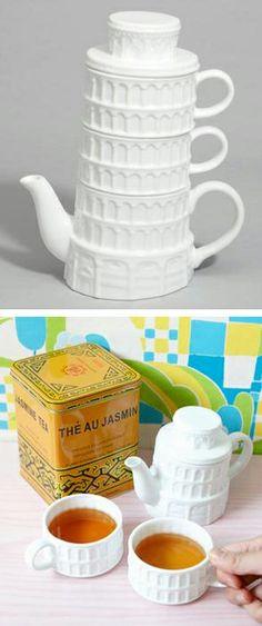 "Leaning Tower of Pisa teapot & mug set // ahem... Leaning Tower of ""Tea-sa""... o.O #product_design #tea"