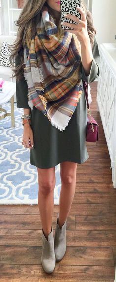 #fall #fashion / olive green + tartan scarf