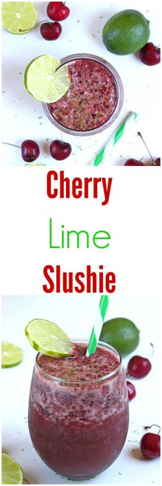 Cherry Lime Slushie made in the Vitamix