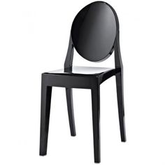 Philippe Starck Ghost Style Black Plastic Chair No Arms.  Philippe Starck's ironic take on the classic victoria ghost chair is the quintessence of baroque style revisited. As a victoria ghost chair this is a design which adds elegance and irony to any interior or exterior like Bars, Clubs and Restaurants.