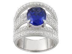 Charles Winston For Bella Luce 8.41ctw Tanzanite/White Diamond Simulants Rhodium Over Sterling Ring