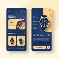 Watch shop app design by Achraf Wydad.⠀ ⠀ – Make Mobile Applications Mobile Ui Design, Ui Ux Design, Interface Design, Layout Design, Flat Design, Best App Design, Web Design Color, User Interface, Design Websites